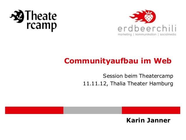 Communityaufbau im Web          Session beim Theatercamp   11.11.12, Thalia Theater Hamburg                  Karin Janner