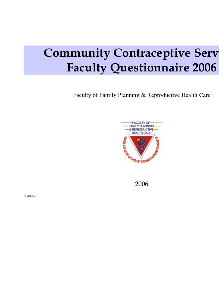 Community Contraceptive Services              Faculty Questionnaire 2006               Faculty of Family Planning & Reprod...