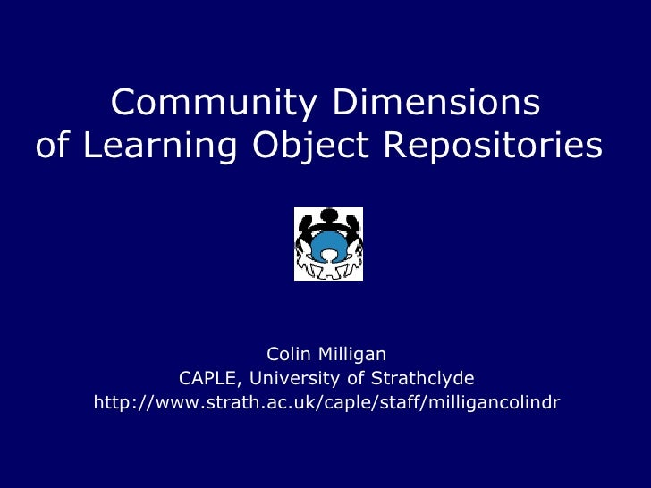 Community Dimensions Of Learning Object Repositories2748