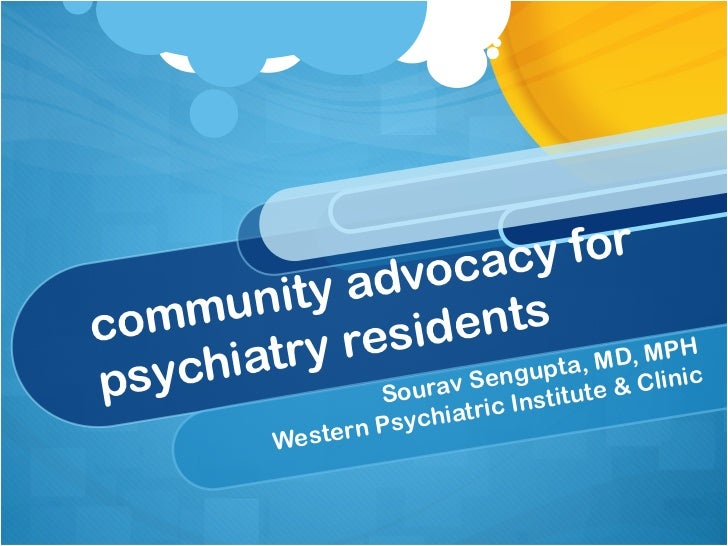 Community Advocacy for Psychiatry Residents