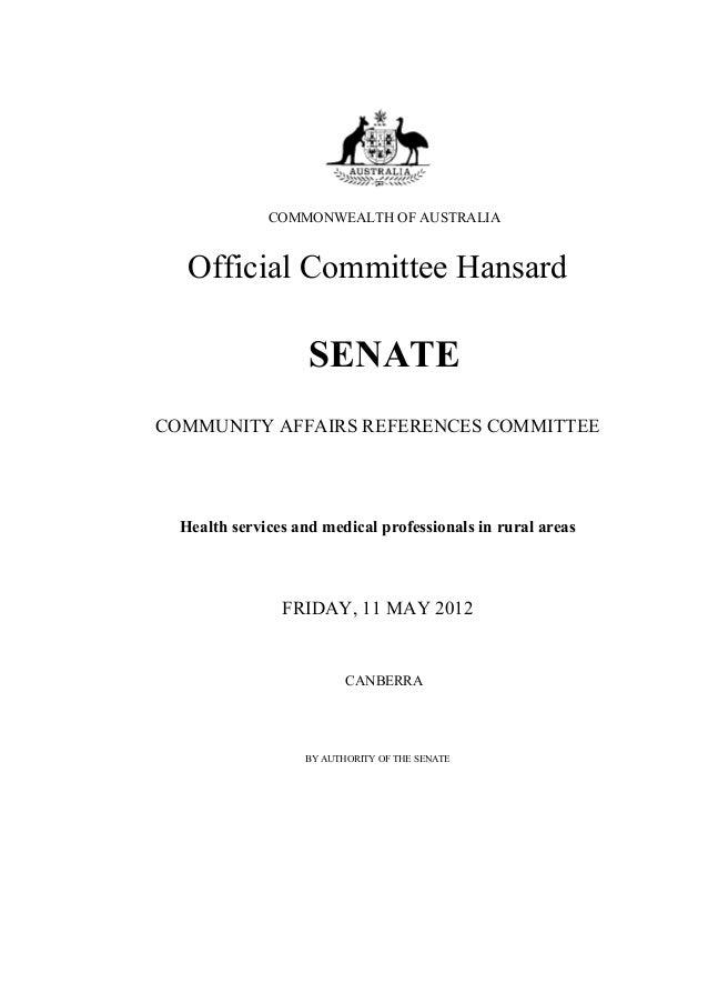 Community Affairs References Committee Hansard