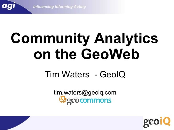 Community Analytics on the GeoWeb