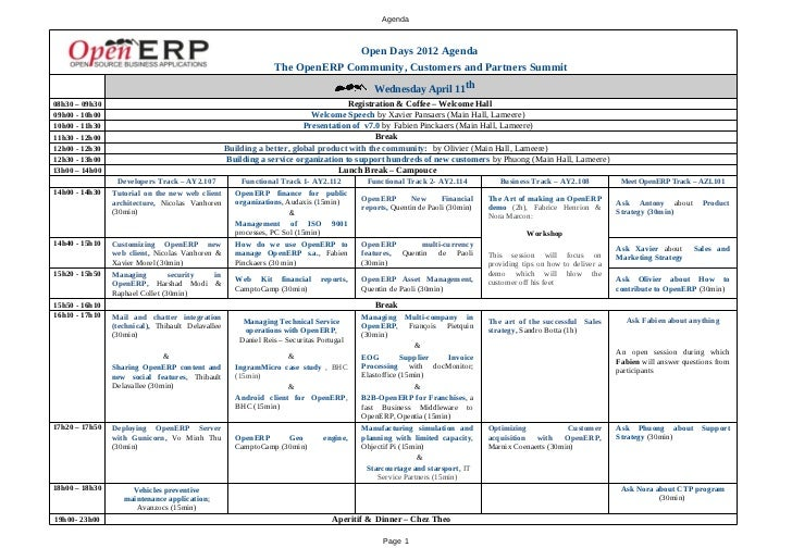 OpenERP OpenDays 2012 Agenda
