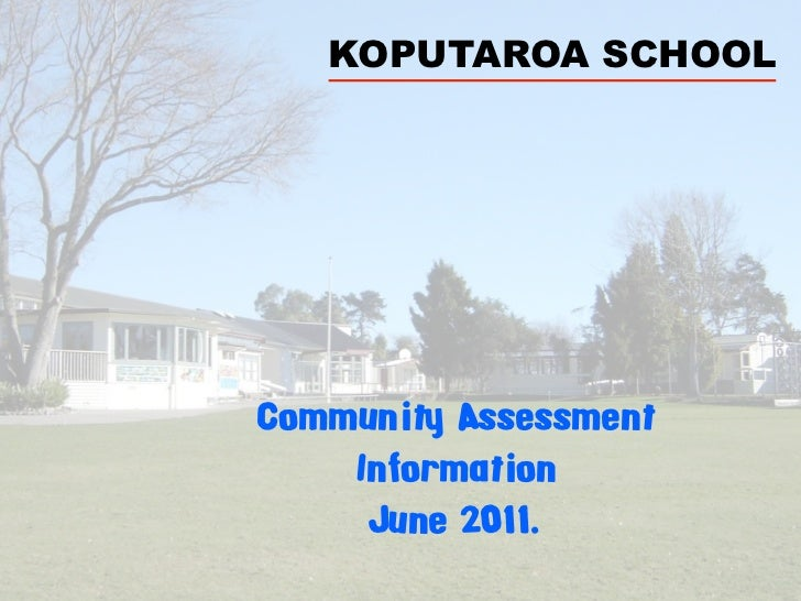 KOPUTAROA SCHOOLCommunity Assessment    Information     June 2011.