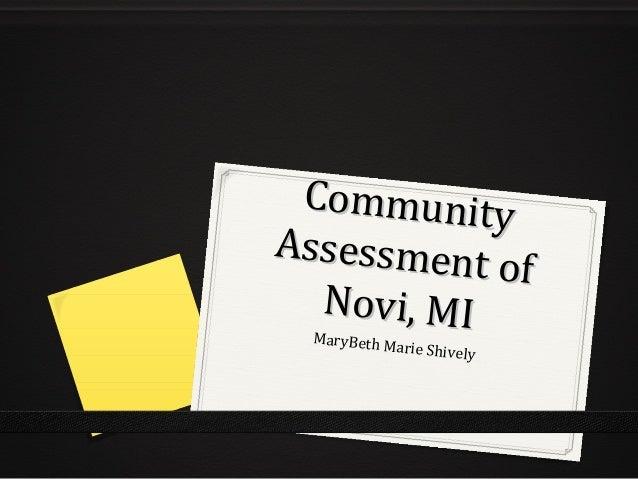 CommunityAssessment           of  Novi, MI MaryBeth M           arie Shively