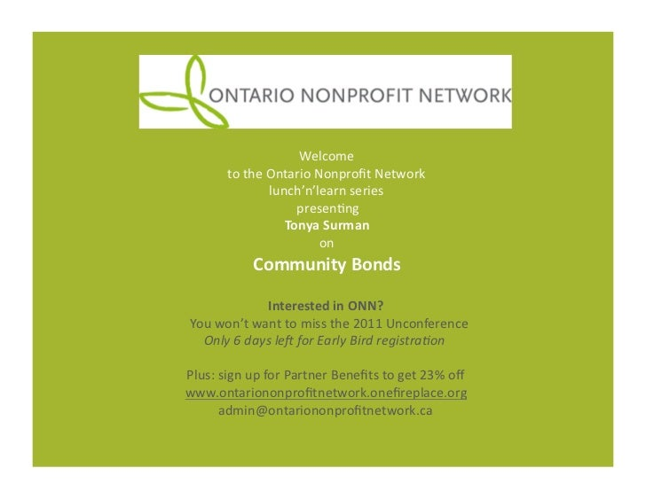 Welcome	             to	  the	  Ontario	  Nonprofit	  Network	  	                          lunch'n'learn	  series	         ...
