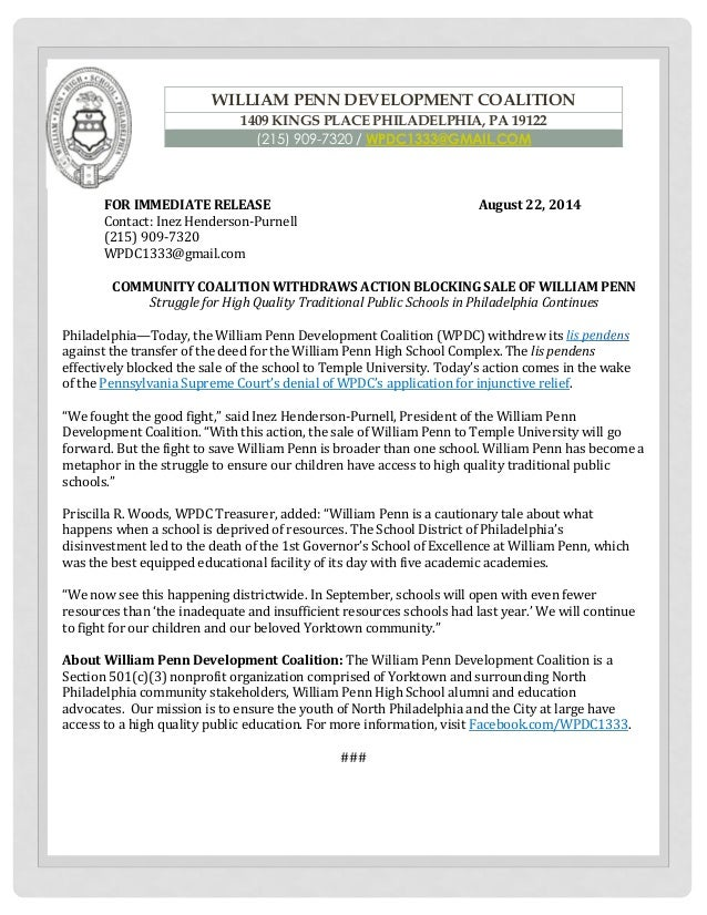 FOR IMMEDIATE RELEASE August 22, 2014 Contact: Inez Henderson-Purnell  (215) 909-7320 WPDC1333@gmail.com  COMMUNITY COALIT...