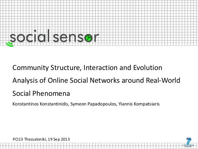 PCI13 Thessaloniki, 19 Sep 2013 Community Structure, Interaction and Evolution Analysis of Online Social Networks around R...