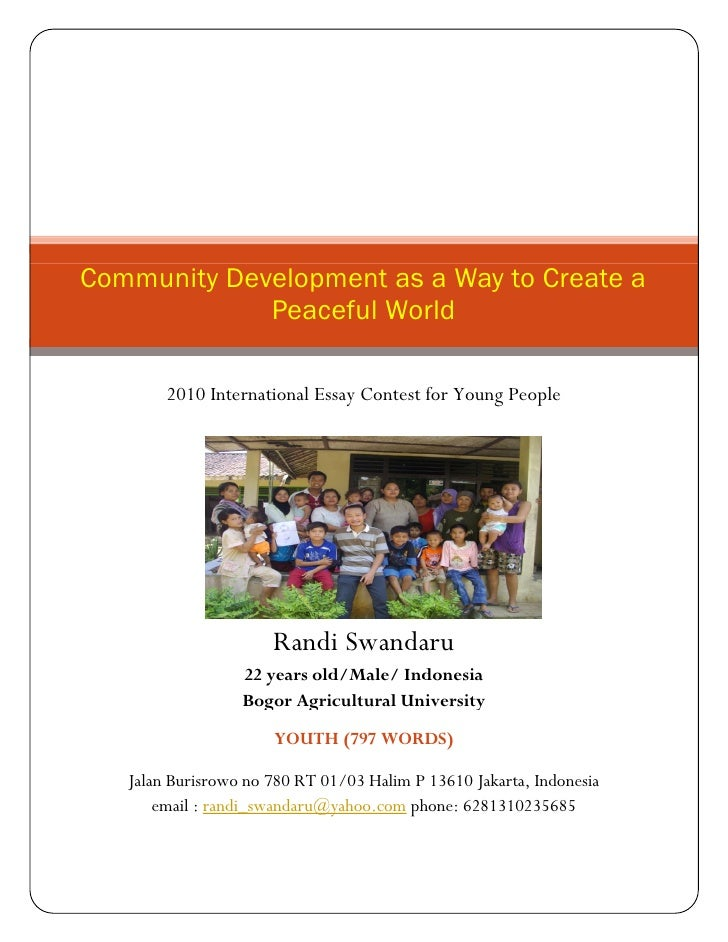 Community development as a way to create a peaceful world