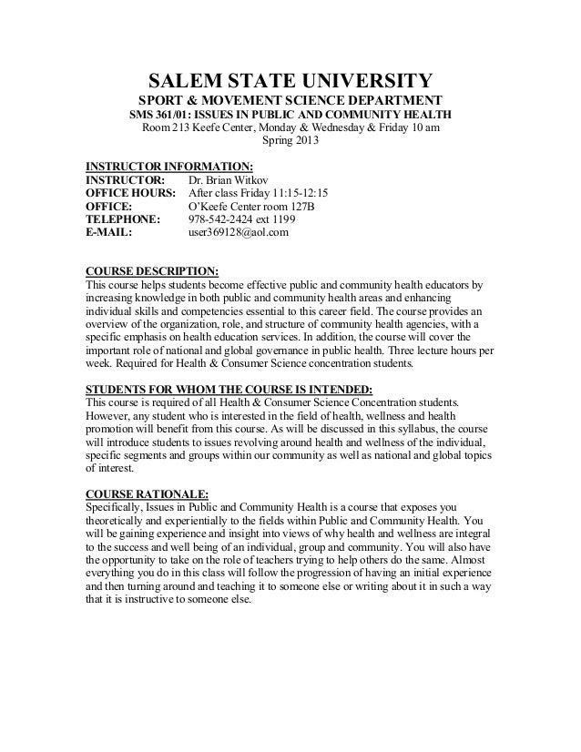 SALEM STATE UNIVERSITY           SPORT & MOVEMENT SCIENCE DEPARTMENT         SMS 361/01: ISSUES IN PUBLIC AND COMMUNITY HE...