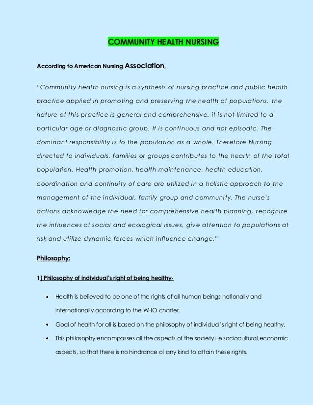"COMMUNITY HEALTH NURSINGAccording to American Nursing Association,""Community health nursing is a synthesis of nursing prac..."