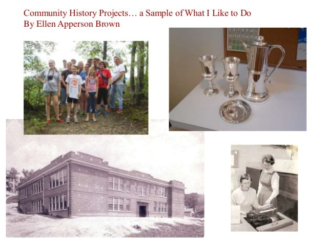 Community History Projects… a Sample of What I Like to Do By Ellen Apperson Brown