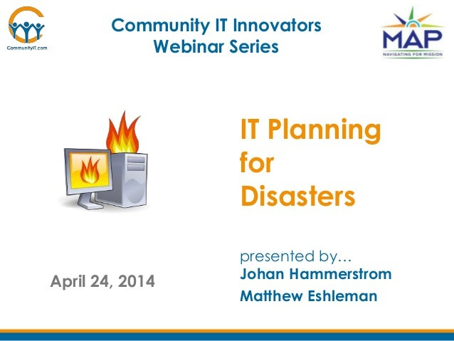 Community it innovators -  IT Planning for Disasters