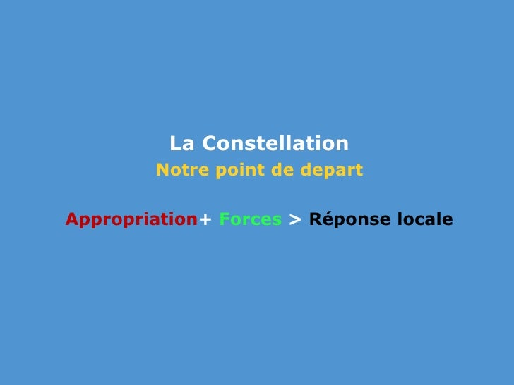La Constellation <br />Notre point de depart<br />Appropriation+ Forces > Réponse locale<br />
