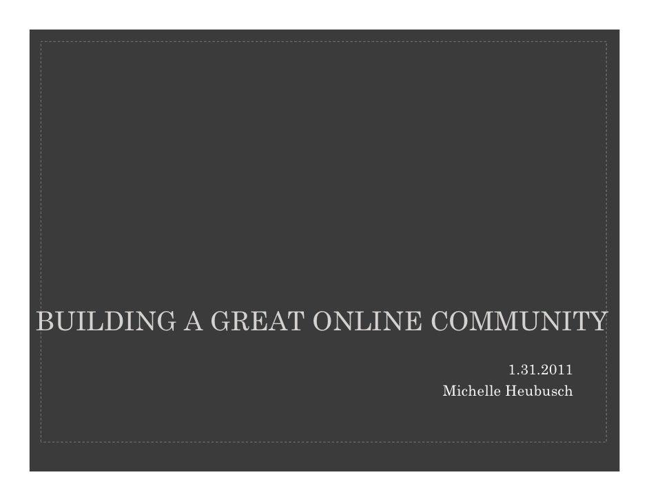 Community management presentation 1.31.2011v2