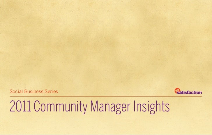 Community Manager Insights - 2011