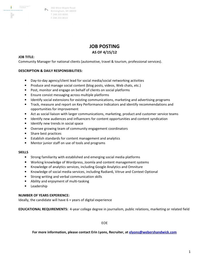 Community Manager Job Description