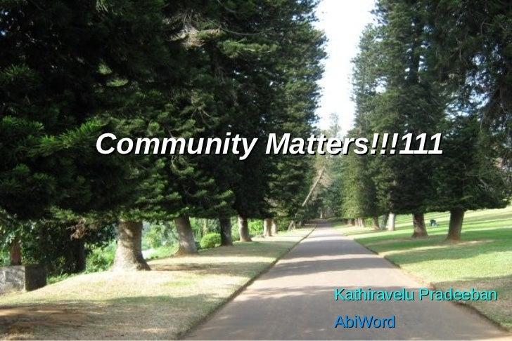Community Matters!!!111