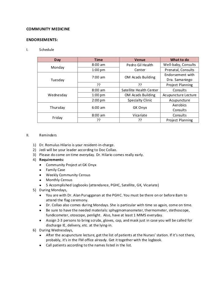 COMMUNITY MEDICINEENDORSEMENTS:I.         Schedule                      Day                     Time                    Ve...