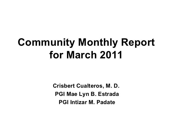 Community monthly report for march 2011