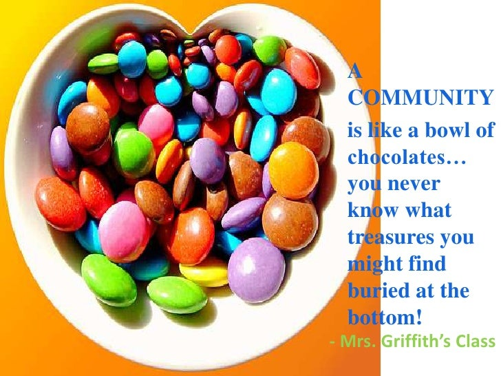 A  COMMUNITY <br />is like a bowl of chocolates… you never know what treasures you might find buried at the bottom!<br />-...
