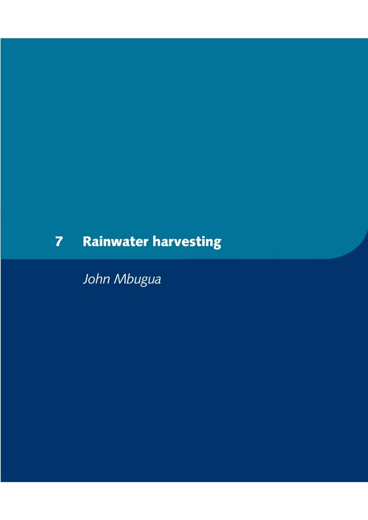 7   Rainwater harvesting    John Mbugua