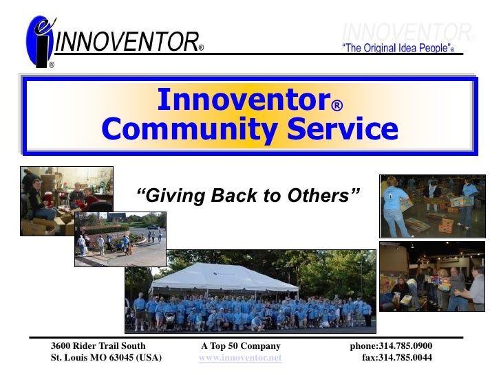 """Innoventor®Community Service<br />""""Giving Back to Others""""<br />"""