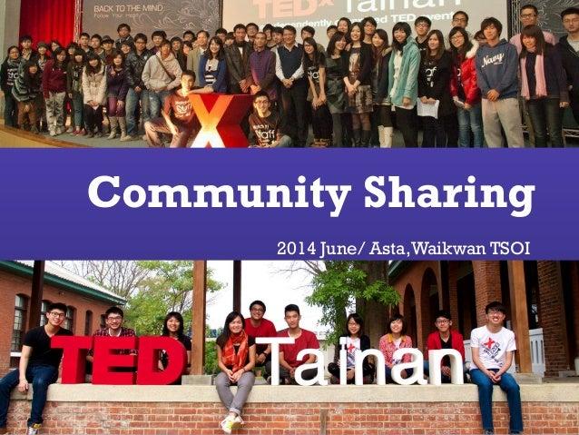 Community Sharing 2014 June/ Asta,Waikwan TSOI