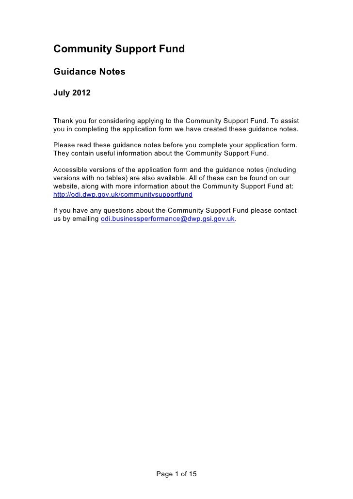 Community Support FundGuidance NotesJuly 2012Thank you for considering applying to the Community Support Fund. To assistyo...