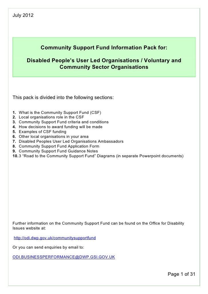 Community Support Fund - Organisation information pack