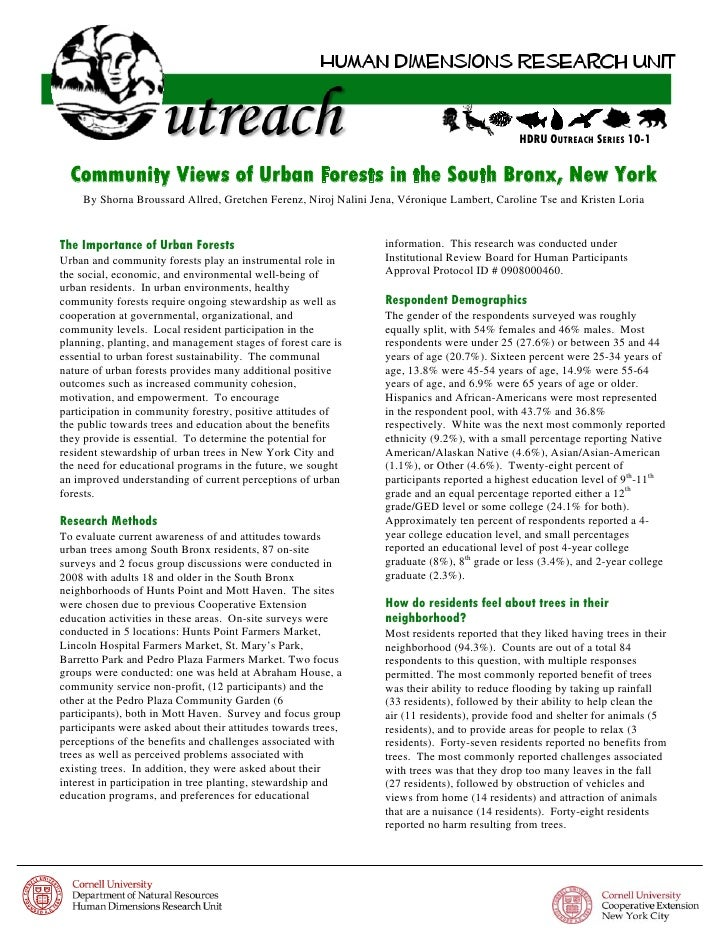HDRU OUTREACH SERIES 10-1  Community Views of Urban Forests in the South Bronx, New York    By Shorna Broussard Allred, Gr...