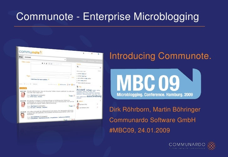 Communote Enterprise Microblogging introduced at MBC09