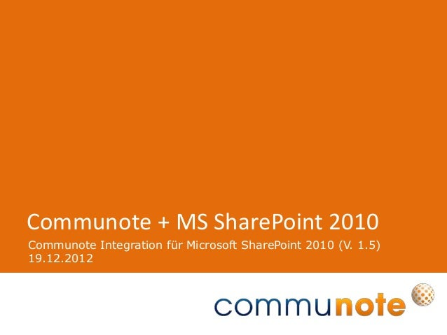 Communote Integration für Microsoft SharePoint 2010