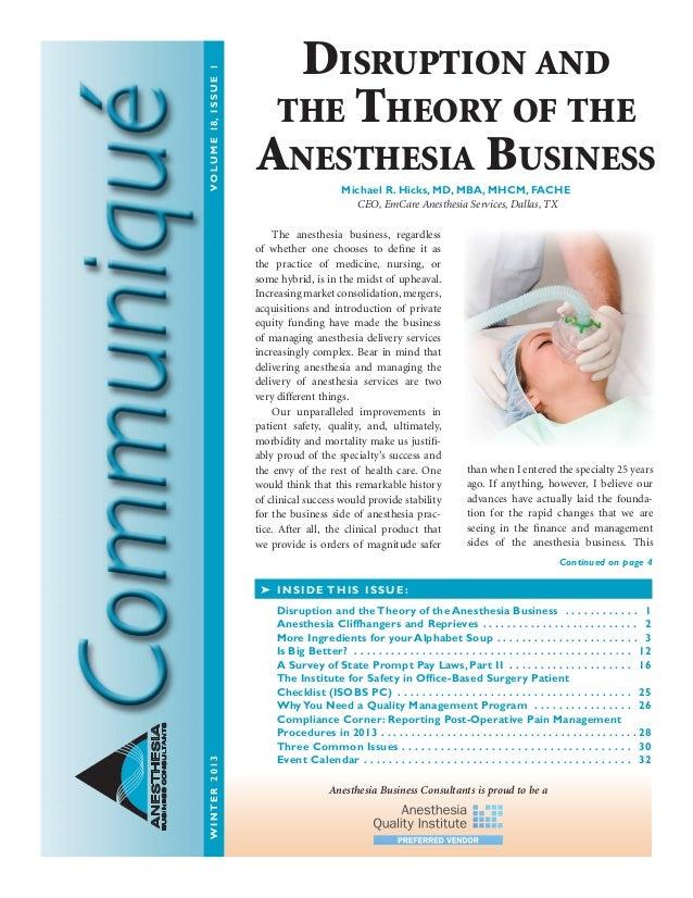 Anesthesia Business Consultants: Communique winter 2013