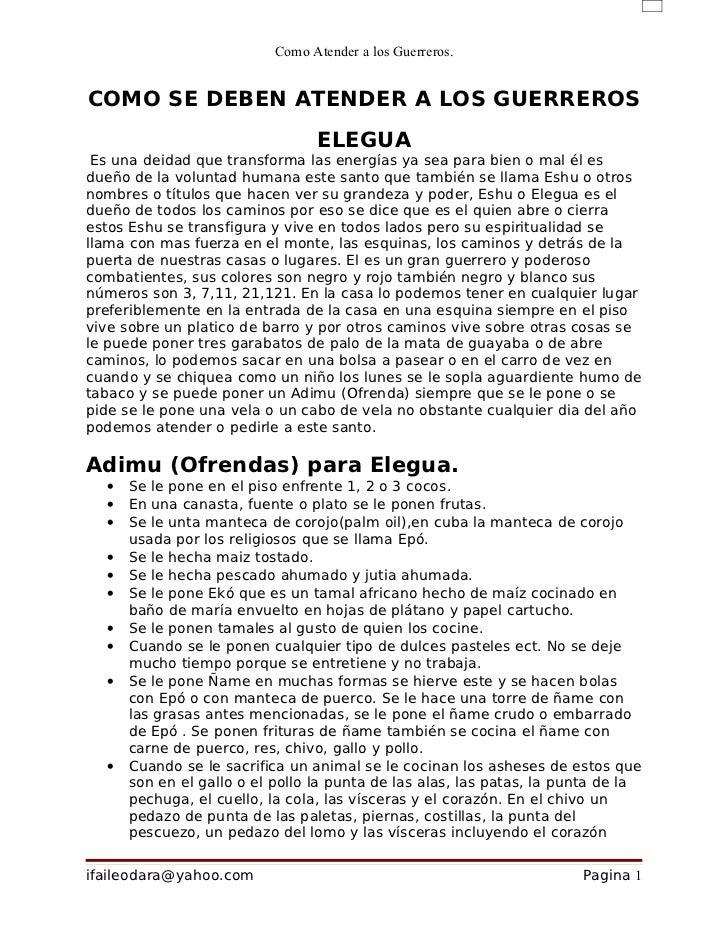 Como Atender a los Guerreros.COMO SE DEBEN ATENDER A LOS GUERREROS                                 ELEGUA Es una deidad qu...