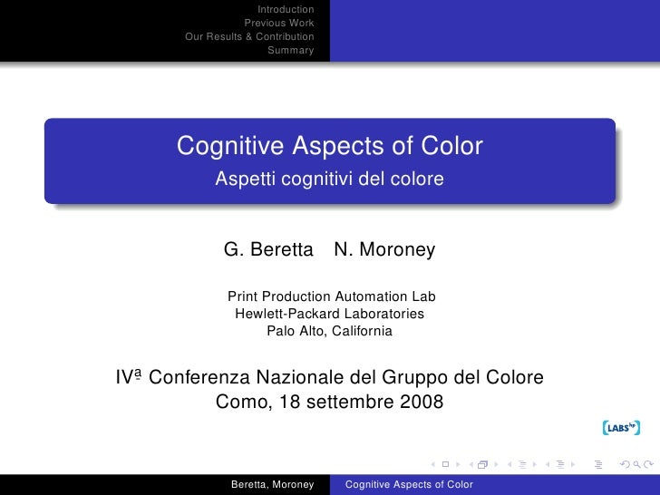Cognitive Aspects of Color