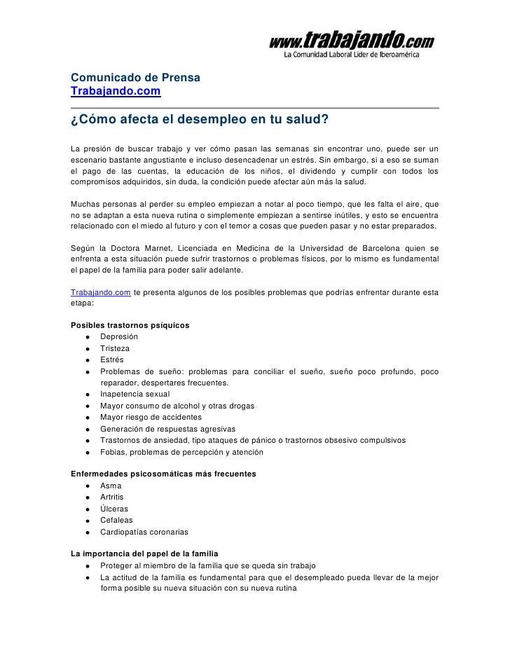 Comunicado de PrensaTrabajando.com¿Cómo afecta el desempleo en tu salud?La presión de buscar trabajo y ver cómo pasan las ...
