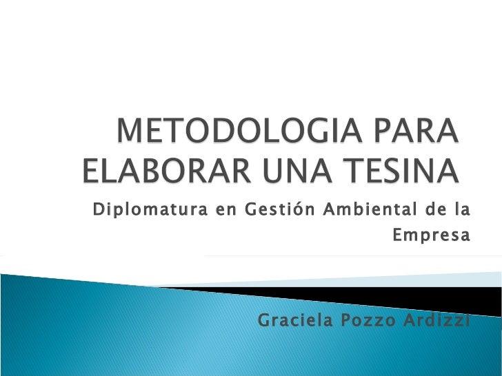 Diplomatura en Gestión Ambiental de la Empresa Graciela Pozzo Ardizzi