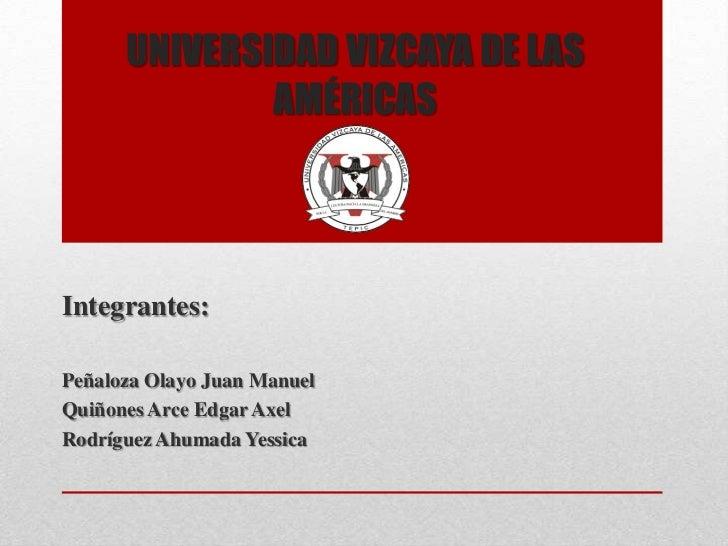 UNIVERSIDAD VIZCAYA DE LAS              AMÉRICASIntegrantes:Peñaloza Olayo Juan ManuelQuiñones Arce Edgar AxelRodríguez Ah...