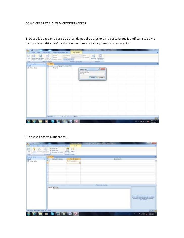 Como crear tabla en microsoft access