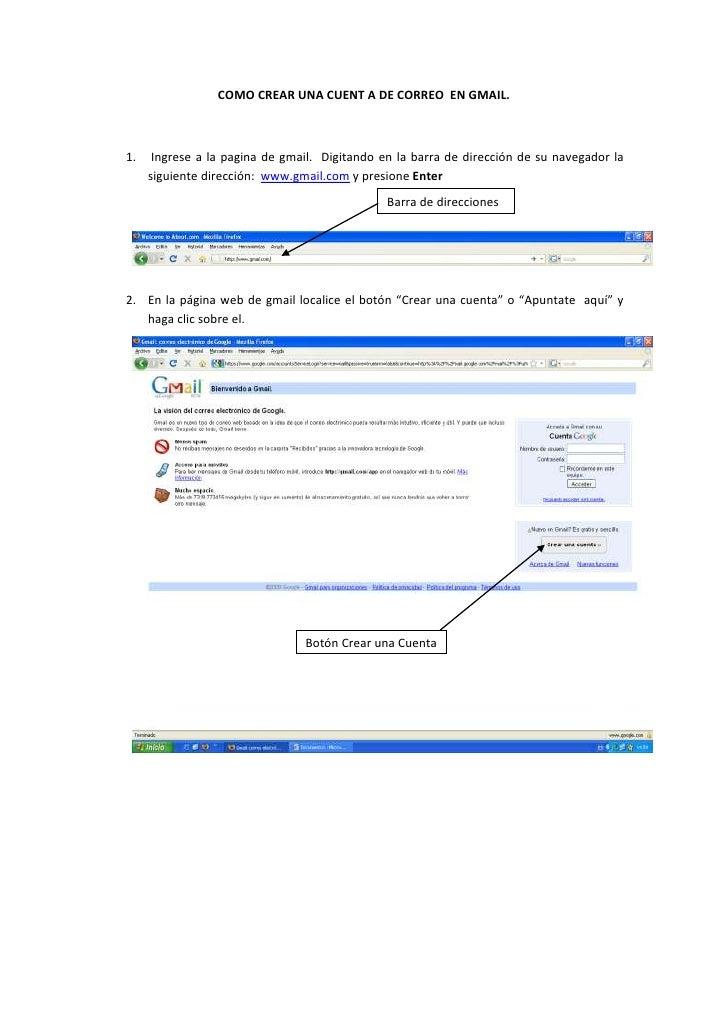 Como Crear Una Cuent A De Correo  En Gmail