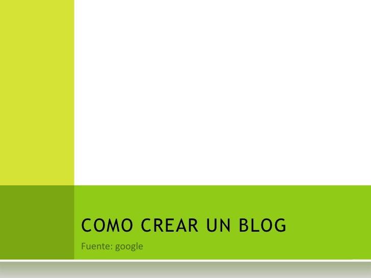 Como crear un blog 2011