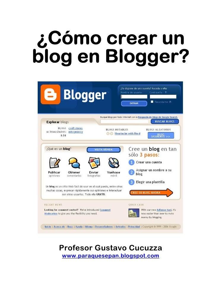 Como crear un blog en  Blogger
