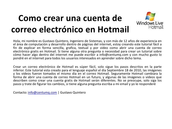 Como crear un correo electronico en hotmail