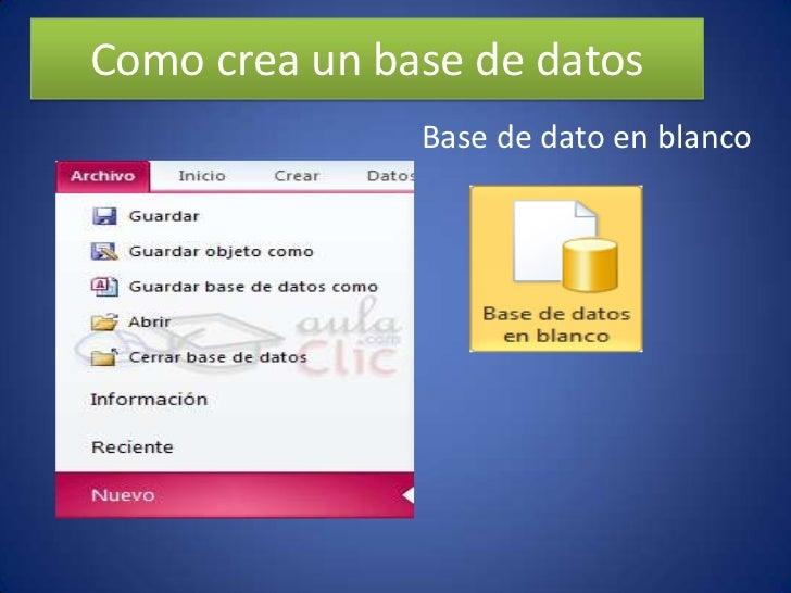Como crea un base de datos               Base de dato en blanco
