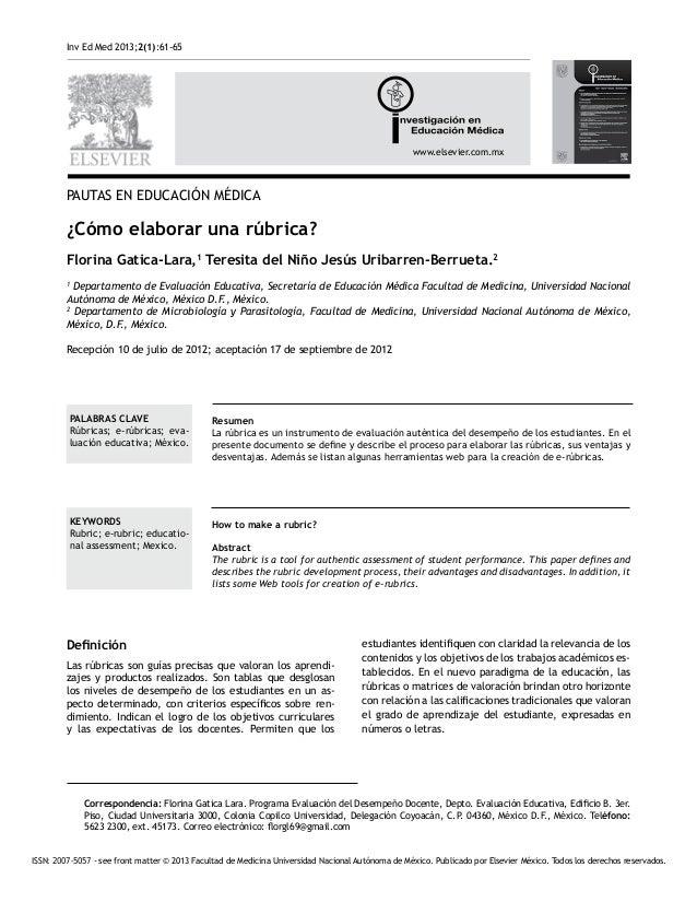 Inv Ed Med 2013;2(1):61-65 www.elsevier.com.mx ISSN: 2007-5057 - see front matter © 2013 Facultad de Medicina Universidad ...