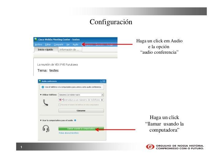 """Configuración                    Haga un click em Audio                         e la opción                     """"audio con..."""