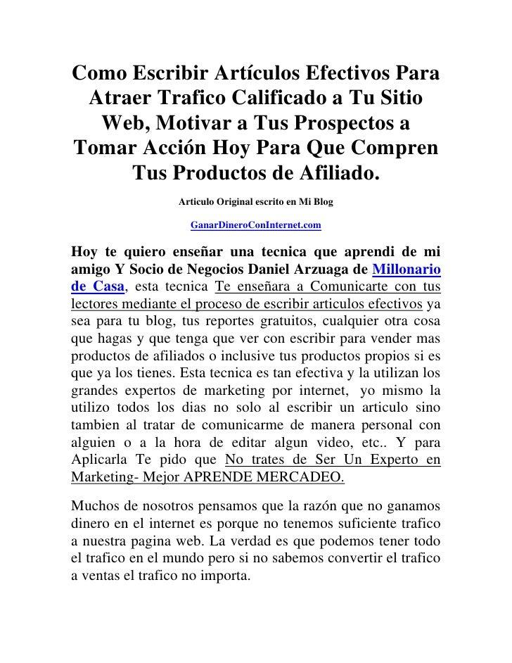 Como escribir artículos efectivos para atraer trafico calificado a tu sitio web