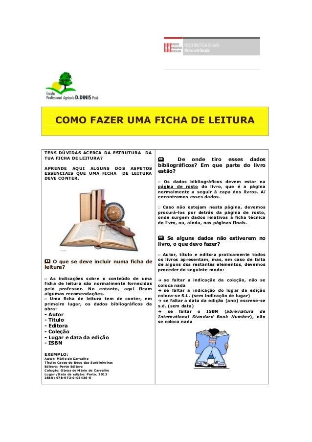 COMO FAZER UMA FICHA DE LEITURA TENS DÚVIDAS ACERCA DA ESTRUTURA DA TUA FICHA DE LEITURA? APRENDE AQUI ALGUNS DOS ASPETOS ...