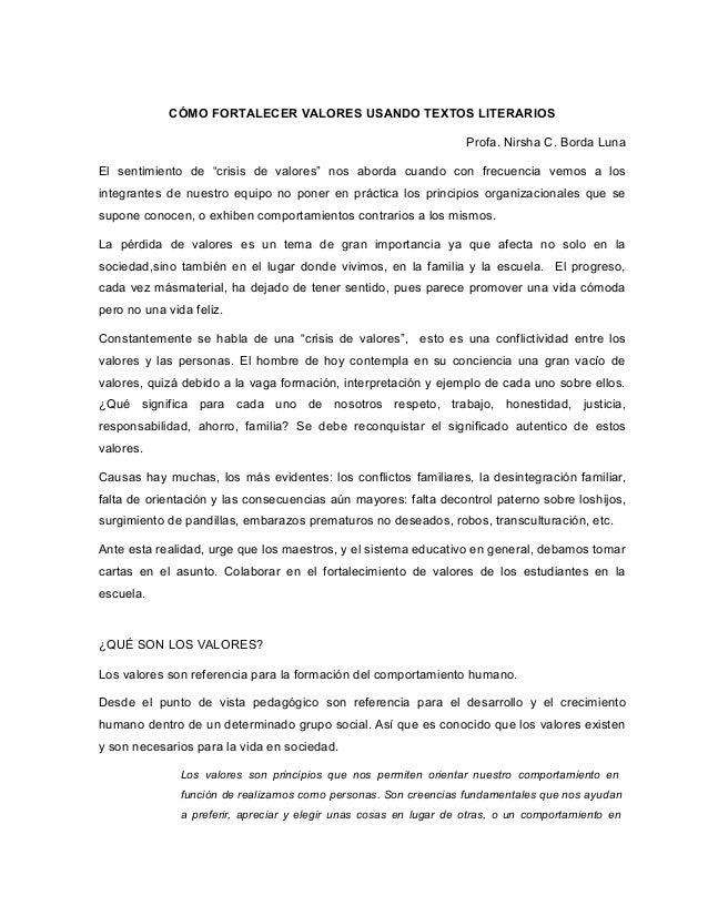 """CÓMO FORTALECER VALORES USANDO TEXTOS LITERARIOS Profa. Nirsha C. Borda Luna El sentimiento de """"crisis de valores"""" nos abo..."""